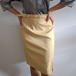 1980's Mustard Yellow Linen Skirt with Belt